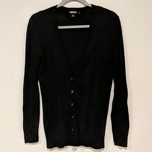 DKNY black buttoned cardigan with decorative lace